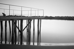 PIER BLACK AND WHITE (sciatore73!) Tags: pier sea black and white fuji dawn monochrome