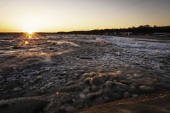 Icy Lake Erie (Dad from Hell) Tags: canada canadarocks gary garypaakkonen greatlakes lakeerie outdoor paakkonen photography d300s goldenhour ice landscape nikon ontario outdoorphotography rocks sigma spring sunset water waves iamcanadian