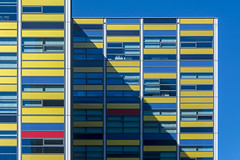 Facade with red, yellow and blue (Jan van der Wolf) Tags: map187187v facade architecture architectuur leiden shadow schaduw geometric geometry geometrisch geometrie gevel gevels