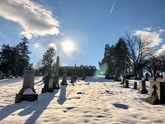 """""""Time is a game played beautifully by children."""" ―Heraclitus ❄️ ☃️ ❄️ (anokarina) Tags: appleiphone8 forttotten pleasanthill rockcreekcemetery stpaulsrockcreek instagram nofilter graveyard cemetery tombstones graves winter snow blue skies sky white clouds sunlight sunshine backlight shadows"""