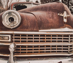 Rusted Hunk (Ray Mines Photography) Tags: street old chrysler vintage steel winters cold machine auto car abandoned