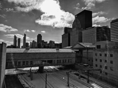 Rooftops (ancientlives) Tags: chicago illinois il usa travel trips rooftops downtown loop architecture buildings towers skyline skyscrapers city cityscape clouds mono monochrome blackandwhite bw january 2019 wednesday