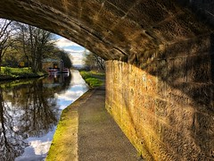 Curves, Lines and Reflected Light On The Union Canal (Mr_Pudd) Tags: sky cloud grass arch stone barge reflection tree bridge water canal iphone8plus reflectedlight southbantaskineroadbridge johnmuirway scotland falkirk unioncanal