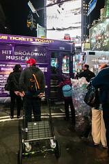 Purple Bus (Jocey K) Tags: sonydscrx100m6 triptocanadaandnewyork architecture street people cans bag trolly bus billlbroads newyorkcity