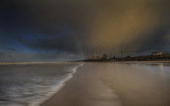 """ THERE WILL BE A......RAINBOW "" (Wiffsmiff23) Tags: morfabeach morfa southwales porttalbot porttalbotsteelworks longexposure rainbow waves storm dramatic drama steelworks steel beach traeth"