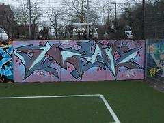 IZAK (mkorsakov) Tags: dortmund city innenstadt unionviertel fusballplatz bolzplatz kunstrasen graffiti wand wall legal bunt colored izak
