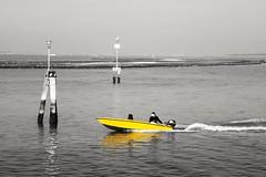 Early spring (Remidott53) Tags: venezia venice primavera spring laguna barca boat yellowboat giallo yellow ragazzo guy