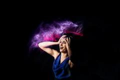 Headache (Irena Rihova) Tags: model muah dress bluedress fashion black blackbackdrop color pain headache woman female feelings emotions portrait painting light lightpainting