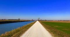 iph8254 (gzammarchi) Tags: italia paesaggio natura pianura ravenna santalberto strada stradabianca canale fiume geometria