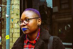 Blue Lips (JuliSonne) Tags: streetphotography people woman stylish bluelips colorful bluehair glasses london portrait