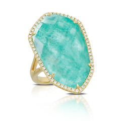 Geometrical 18k Yellow Gold Diamond Ring With Clear Quartz Over Amazonite (diamondanddesign) Tags: geometrical18kyellowgolddiamondringwithclearquartzoveramazonite r7148az 18k yellow gold amazon breeze doves rings diamond 027 ct clear quartz over amazonite front