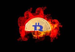 Bitcoin crypto with fire isolated on black background (wuestenigel) Tags: half market crypto smoke cut background bitcoin finance coin bear money mining broken digital crash bullmarket bussiness electronic isolated fire cryptocurrency btc illustration symbol desktop art kunst design shape gestalten silhouette abstract abstrakt dark dunkel noperson keineperson flame flamme rauch sign zeichen retro image bild graphic grafik luminescence lumineszenz halving halvening