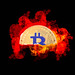 Bitcoin crypto with fire isolated on black background