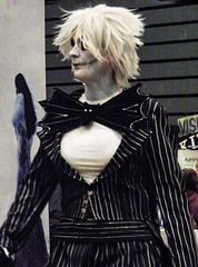 A Bit Batty (Steve Taylor (Photography)) Tags: bat bowtie pinstripes wig kiss visible suit stitches eyeshadow contrast spooky eerie scary strange woman lady lines armageddonexpo armaggedon addington costume outfit wings