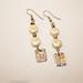 Precious metal clay and freshwater pearls earrings