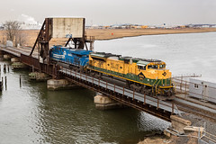 Can-Opener Squared (sully7302) Tags: norfolk southern heritage unit sd70ace emd reading company line conrail ns rahway river meadowlands bridge cp karen shared assets es44ac general electric new jersey skyline york garden state secondary train trains transport railway railroad transportation water scenic chemical coast