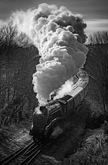 60009 Union of South Africa (Mister Oy) Tags: summerseat 60009 unionofsouthafrica gresley a4 steam loco train railway mono monochrome blackandwhite visitlancashire nikond850 nikon2470mmf28evr smoke light sun