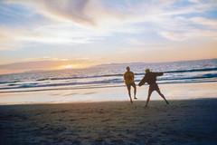 Boy and girl on film, jumping. (imajane) Tags: 2018 imajane jared jane 1998 film timer oldschool paraparaumu beach tagged insane insanejane