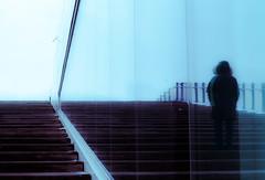 reflet de l'imaginaire (photosgabrielle) Tags: photosgabrielle personnage hiver urban city urbain winter blue lines stairs escaliers