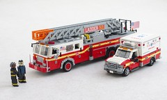 FDNY Ladder and EMS (Mad physicist) Tags: lego fire engine ambulance fdny 122 ford seagrave