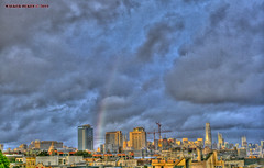 Rainbow City Scape (Walker Dukes) Tags: blue black buildings view vista red canon cityscape clouds rain sanfrancisco sfbayarea sf california green gold highdefinitionresolution highdefinition hdr landscape orange pink photomatix photoshop photograph violet xti yellow cyan
