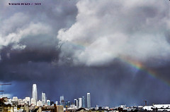Storm Clouds with Rainbow, Fused Shot (Walker Dukes) Tags: sanfrancisco california canon cityscape clouds canonxti blue black buildings sky skyline skyscrapers skyscraper salesforcetower yellow violet bluegreen green highdefinitionresolution highdefinition landscape photomatix photoshop purple photograph red urban view vista white cloud xti cyan