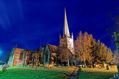 Night Church (Geoff Henson) Tags: night dark sky stars cloud church spire tower grave gravestone grass tree longexposure rossonwye herefordshire welshmarches borders england