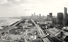 Chicago, 2019 (gregorywass) Tags: chicago grant millennium park south lake michigan lakefront city bw monochrome panorama iphone shedd aquarium field museum adler planetarium bean construction columbus street art institute buckingham fountain maggie daley avenue winter february 2019 pritzker pavilion bp bridge cloud sky
