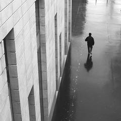 Along the facade (pascalcolin1) Tags: paris13 homme man pluie rain reflets reflection facade façade photoderue streetview urbanarte noiretblanc blackandwhite photopascalcolin 50mm canon50mm canon