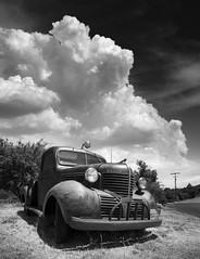 San Diego : Julian (William Dunigan) Tags: san diego julian east county mountains monsoon summer clouds black white photography monochrome old truck classic rustic rural california southern
