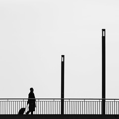 Me and my Trolley (Leipzig_trifft_Wien) Tags: berlin deutschland de architecture silhouette square minimalism three vertical black white city urban street streetphoto contrast