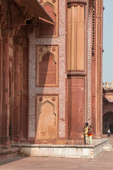 peek a boo (irisnoack) Tags: kids architecture india tiles tesselations red sandstone