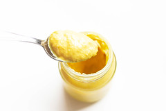 Jar of mustard with spoon on white background (wuestenigel) Tags: spice spoon color sauce closeup ramekin background texture english gourmet yellow mustard food relish ingredient french dijon isolated condiment spicy flavor fresh cream dressing white lebensmittel noperson keineperson sweet süss nutrition ernährung delicious köstlich breakfast frühstück honey honig healthy gesund fruit obst refreshment erfrischung health gesundheit sugar zucker sahne tasty lecker stranded gestrandet nahansicht jam stunde cooking kochen löffel taste geschmack
