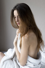Lou#3 (point.of.viou) Tags: lyon model shooting natural white light cocooning soft nude woman longhair canon 80d 50mm