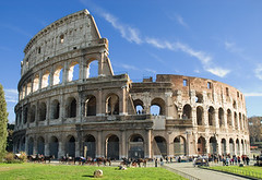 Colosseum, Rome (hysteria6452) Tags: rome rom roma colosseum colosseo coliseum coloseum colloseum arches arena empire gladiators historic italian italy architectural ampitheatre landmark power robust roman seminal stone strong structure tourism attractive blue culture european named national photography sky lazio source structures topic travel vacation weather ancient architecture monument ancientarchitecture owntag