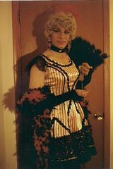 An Early Halloween Effort On My Part (Laurette Victoria) Tags: costume laurette woman saloongirl dress boa fan gloves choker halloween