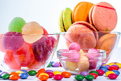 Colored cookies and candies on white background (wuestenigel) Tags: hard sugar color different bonbon background orange red mix delicious candy assortment heart yellow white jelly group lolly macaroons confection closeup lollypop blue food holiday texture birthday dessert marmalade colorful sweet dark lollipop lollipops top candies cookies green many fruit confectionery childhood