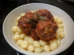 Homemade meatballs with tomato sauce over mini gnocchi. (elnina999) Tags: meatballs tomatosauce potato gnocchi apetizing homemade italian cuisine food warm tasty dinner bowl nutritious balancedmeal healthy gourmet comfortfood groundbeef gravy dining pixelphonephotography mobilephonephotography