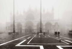 Play Misty For Me (photofitzp) Tags: bw basilica blackandwhite fog italy mist stmarkssquare venice