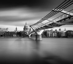 St. Paul's Cathedral and the Millennium Bridge (Alona Azaria) Tags: london uk thames millenniumbridge longexposure 15stopper blackandwhite bw noir cityscape waterscape river architecture