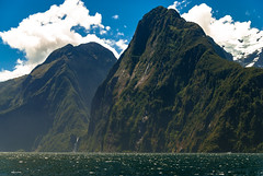 In the blood of Eden (.KiLTЯo.) Tags: kiltro nz newzealand milfordsound southland landscape seascape mountain nature waterfall clouds hills green blue sea ocean fjord fiord