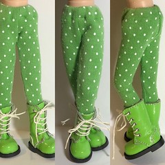 Skittles Green With White Dots...Tights For Blythe... (daffodil.lane) Tags: blythe blytheclothes blytheaccessories blythefashion dollclothes repurposedmaterial thriftedfabric daffodillane blythetights tights skittlesgreen whitepolkadots