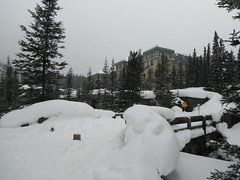 Lake Louise Alberta Canada Snow Days ... (Mr. Happy Face - Peace :)) Tags: art2019 snow rockies chateau fairmount hotel resort tree sky cloud bridge creek cans2s lakelouise alberta canada winter twentyfive 25years flickrfriends