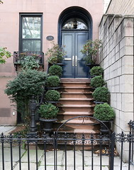 Brownstone entrance (1872), Kips Bay, New York City (Spencer Means) Tags: architecture house brownstone entrance steps arch window gate iron ironwork kipsbay manhattan newyork city nyc ny urban front