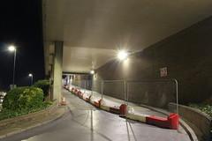 Night Shoot , 58 (doojohn701) Tags: repair slip approach streetlighting road concrete mall vegetation wall dusk dark building bexleyheath uk sky slope
