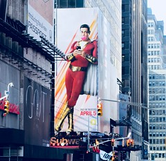 Shazam The Big Red Cheese Billboard 42nd St NYC 4326A (Brechtbug) Tags: shazam billboard 42nd street new captain marvel the big red cheese poster ad nyc 2019 times square movie billboards york city work working worker paint painting advertisement dc comic comics hero superhero alien dark knight bat adventure national periodicals publication book character near broadway shield s insignia blue forty second st fortysecond 03202019 lightning flight flying march