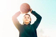 (Rebecca812) Tags: girl basketball sports lifestyles heroshot lowangle sunlight lensflare tween preteen strong confident portrait candid rebecca812 people
