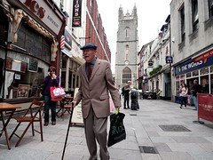 Gent out shopping (kevin Akerman) Tags: gent gentleman hat stick shopping shops cardiff