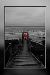 """""""La pointe d'Agon""""  -  France - Normandie  - Manche (50) (roger gabriel simon) Tags: lapointedagon normandie france agoncoutainville coutainville umbrella red parapluie manche ponton monochrome noiretblanc blackandwhite bnw bw schwarzundweiss landscape landschaft frankreich canon canonpowershotg5x paysage art artwork fineartphotography pier outside flickr"""