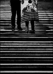 _ __ the coat __ _ (christikren) Tags: austria abstract blackwhite christikren exhibition khm lines monochrome noiretblanc panasonic street stairs coat candid streetphotography stripes couple urban wien sw black dark vienna woman man feet escalier treppe